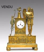 Pendule Apollon bronze doré Empire-Restauration 1822