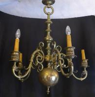 lustre ancien hollandais laiton xix eme 12 lampes antiquites en france. Black Bedroom Furniture Sets. Home Design Ideas