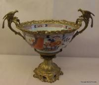 Coupe porcelaine imari fleurs dragons laiton bronze dore for Vasque ancienne en porcelaine