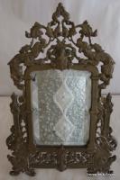 Cadre rond en bronze dore avec verre bombe antiquites en for Miroir bombe rond