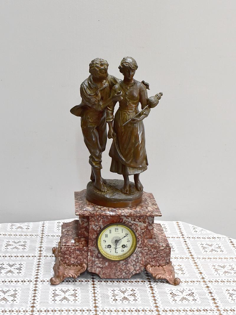 Pendule Avec Regule Signe Rousseau Xixeme Antiquites Lecomte