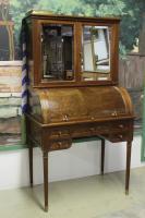bureau americain a rideau en noyer antiquites en france. Black Bedroom Furniture Sets. Home Design Ideas