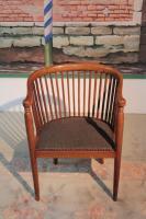 fauteuil tonneau bois hetre incruste bois clair 1925 antiquites en france. Black Bedroom Furniture Sets. Home Design Ideas