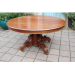 table a pied central a rallonges en acajou napoléon III 14 couverts