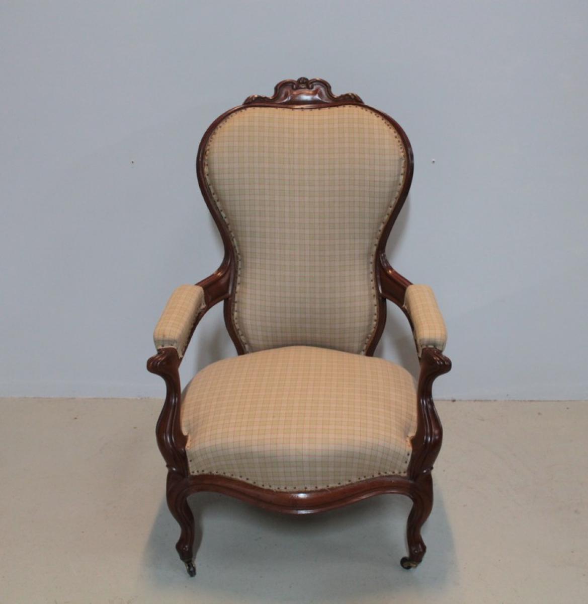 fauteuil napoleon iii en acajou xixeme antiquites lecomte. Black Bedroom Furniture Sets. Home Design Ideas