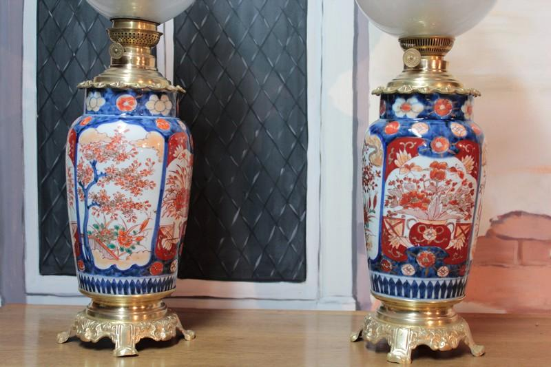Lampes p trole sur vases imari xviiie antiquites lecomte for Decoration 19eme siecle