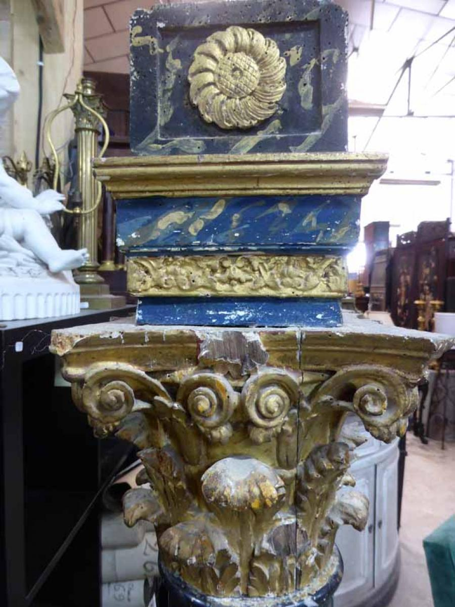 Colonnes en marbre et chapiteaux en bois dor philippe for Decoration 18eme siecle