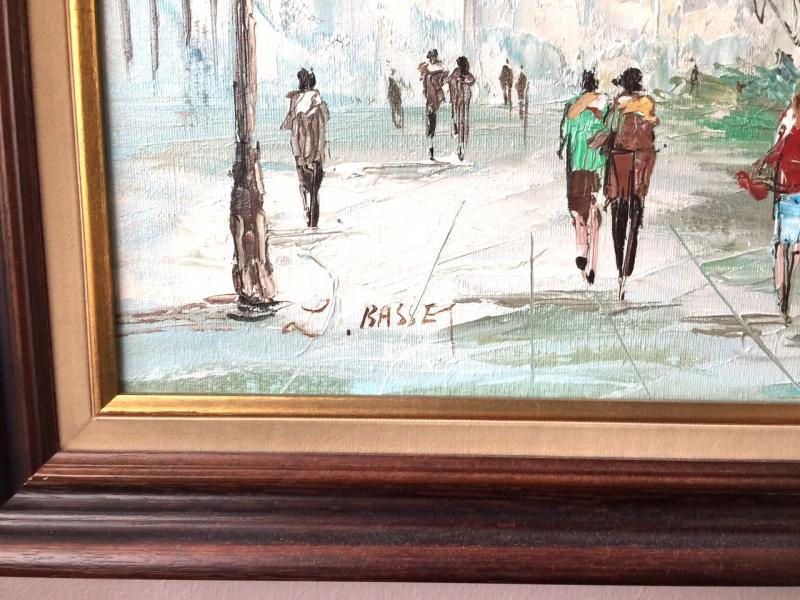 Tableau huile sur toile vue de paris sign antiquit s for Delta 0 tableau de signe