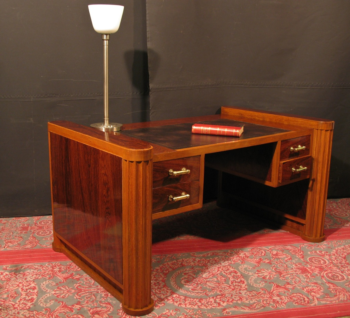 ancien bureau am ricain cylindre rideau caisson noyer scriban. Black Bedroom Furniture Sets. Home Design Ideas