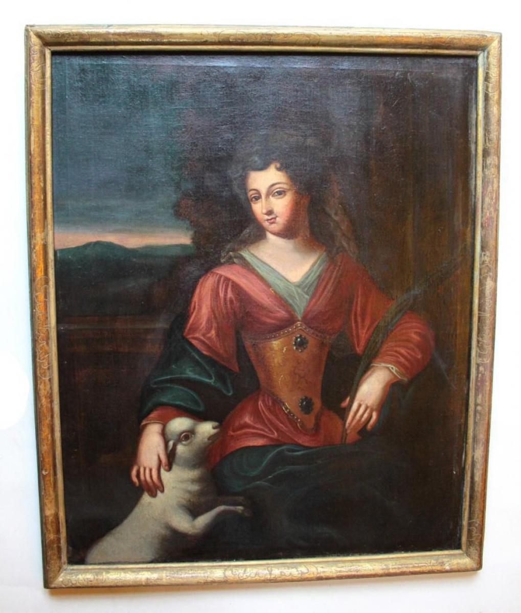 tableau poque 17 me peinture hst grand portrait de la femme. Black Bedroom Furniture Sets. Home Design Ideas