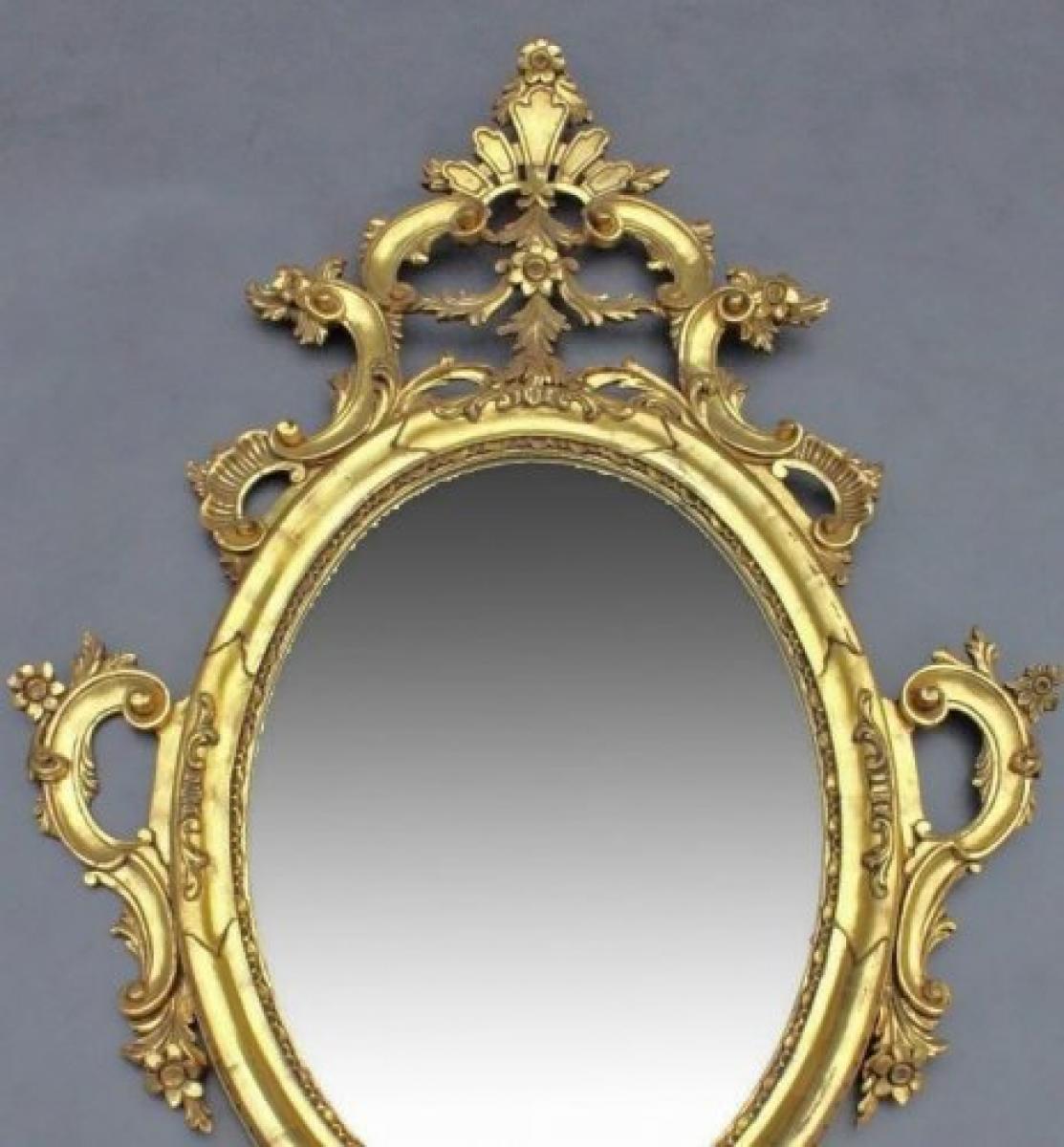 Grand miroir baroque en bois dor poque art d co vers for Miroir baroque dore