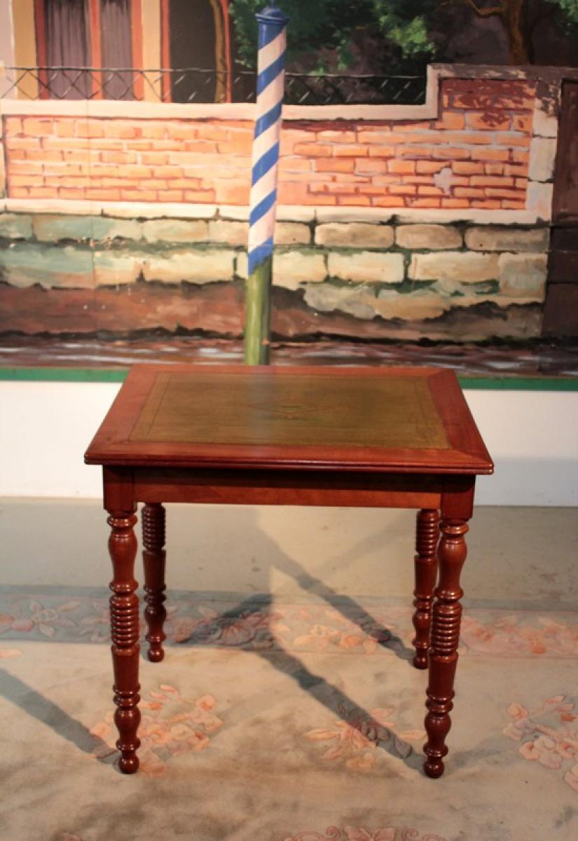 Table bureau l philippe en acajou xixeme antiquites lecomte for Bureau xixeme