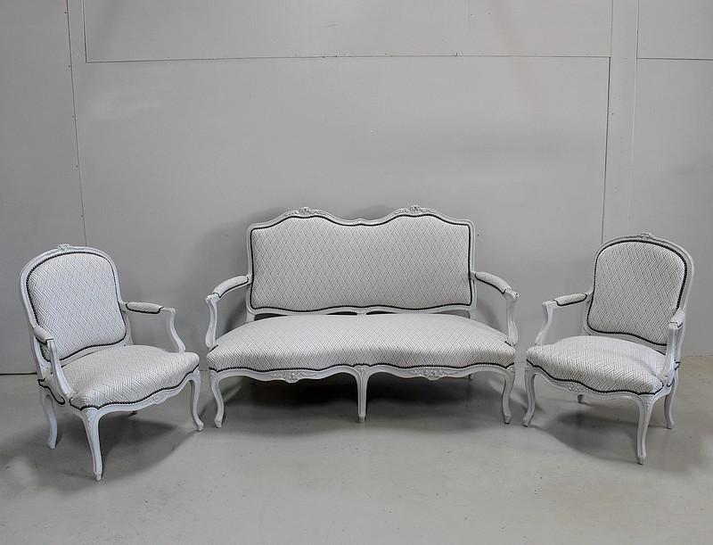 Salon canap et fauteuils louis xv xix me antiquites for Canape a l ancienne