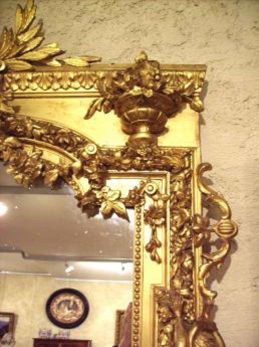 Grand miroir blason aux lions et couronne comtale for Grand miroir long