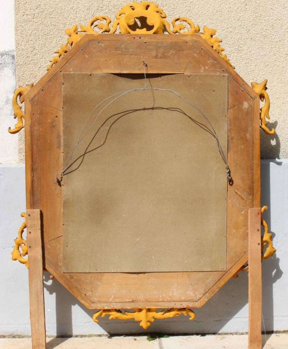 Grand miroir parcloses xixe bois dor galerie tramway for Grand miroir encadrement bois