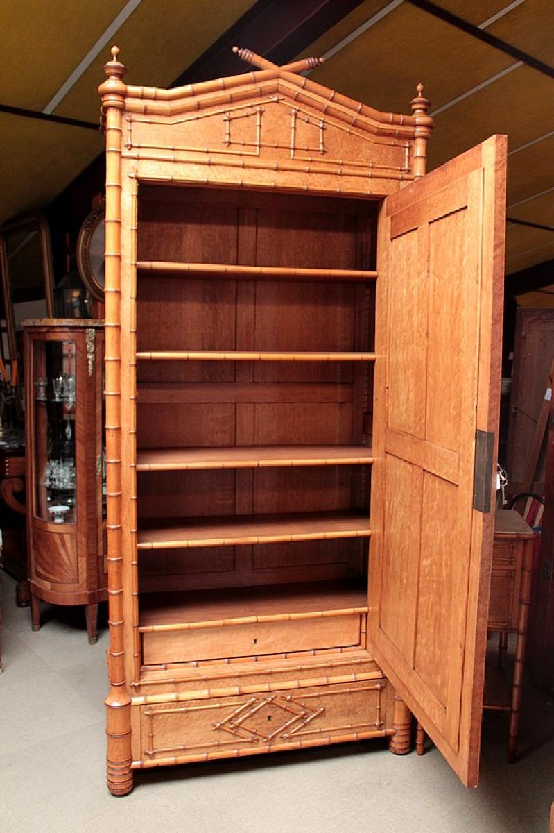 armoire bambou en erable et cerisier xxeme antiquites. Black Bedroom Furniture Sets. Home Design Ideas