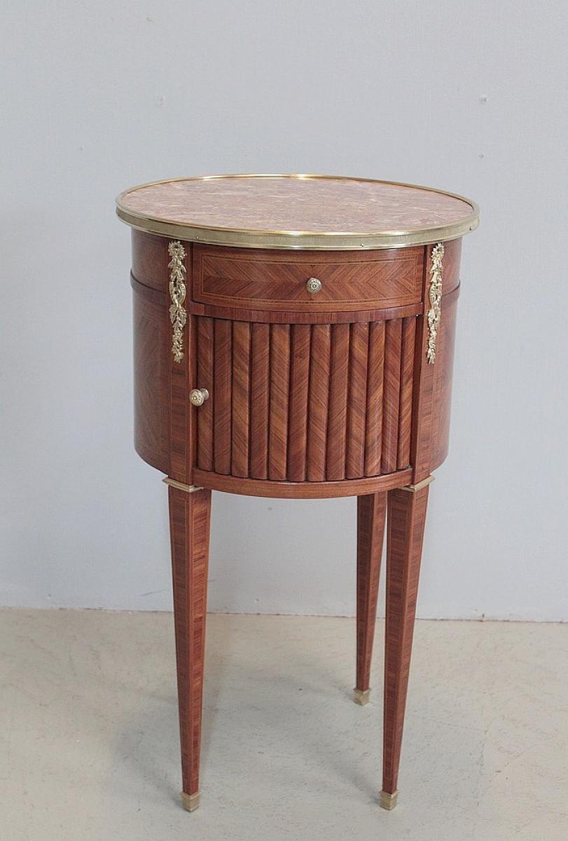 Chevet tambour en marqueterie style louis xvi xixe - Petit meuble de chevet ...