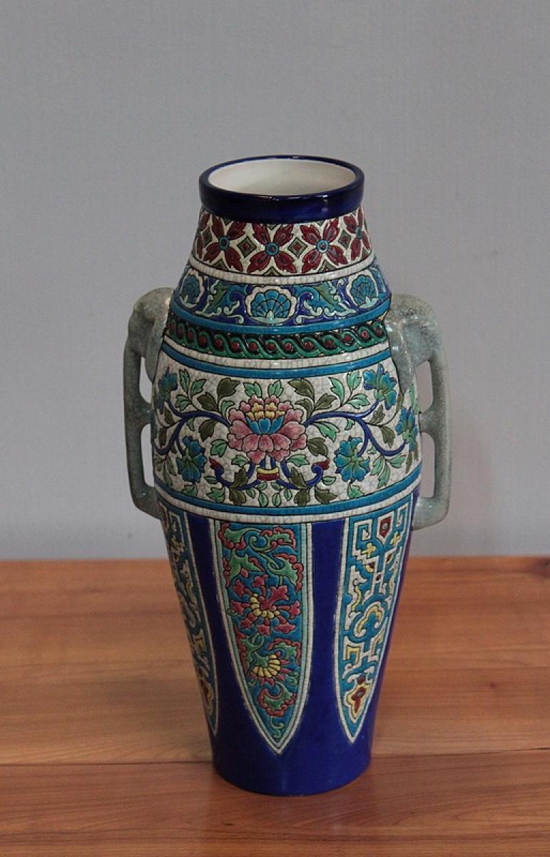 vase en emaux de longwy xxe antiquites lecomte. Black Bedroom Furniture Sets. Home Design Ideas