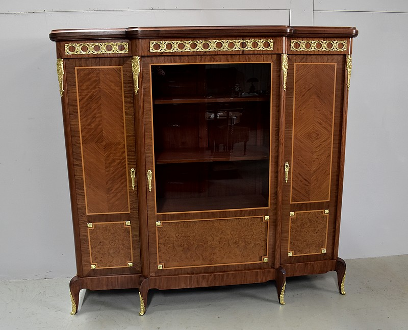 armoire biblioth que louis xv louis xvi en marqueterie xxe. Black Bedroom Furniture Sets. Home Design Ideas