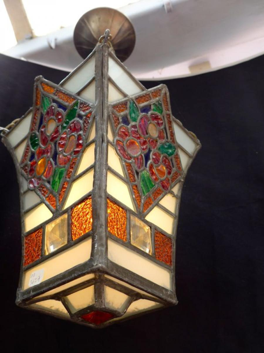 lanterne vitrail art d co la boutique opio proche de nice. Black Bedroom Furniture Sets. Home Design Ideas