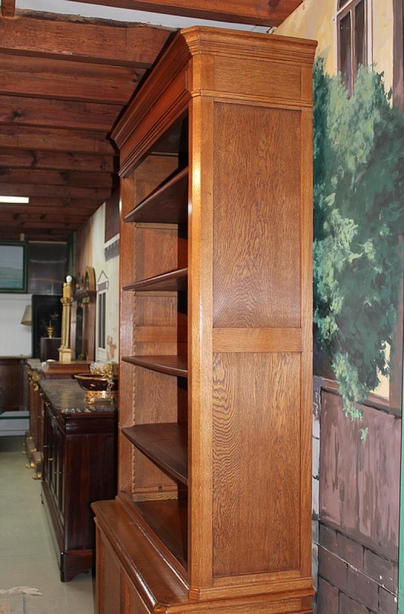 biblioth que deux corps en ch ne xxeme antiquites lecomte. Black Bedroom Furniture Sets. Home Design Ideas