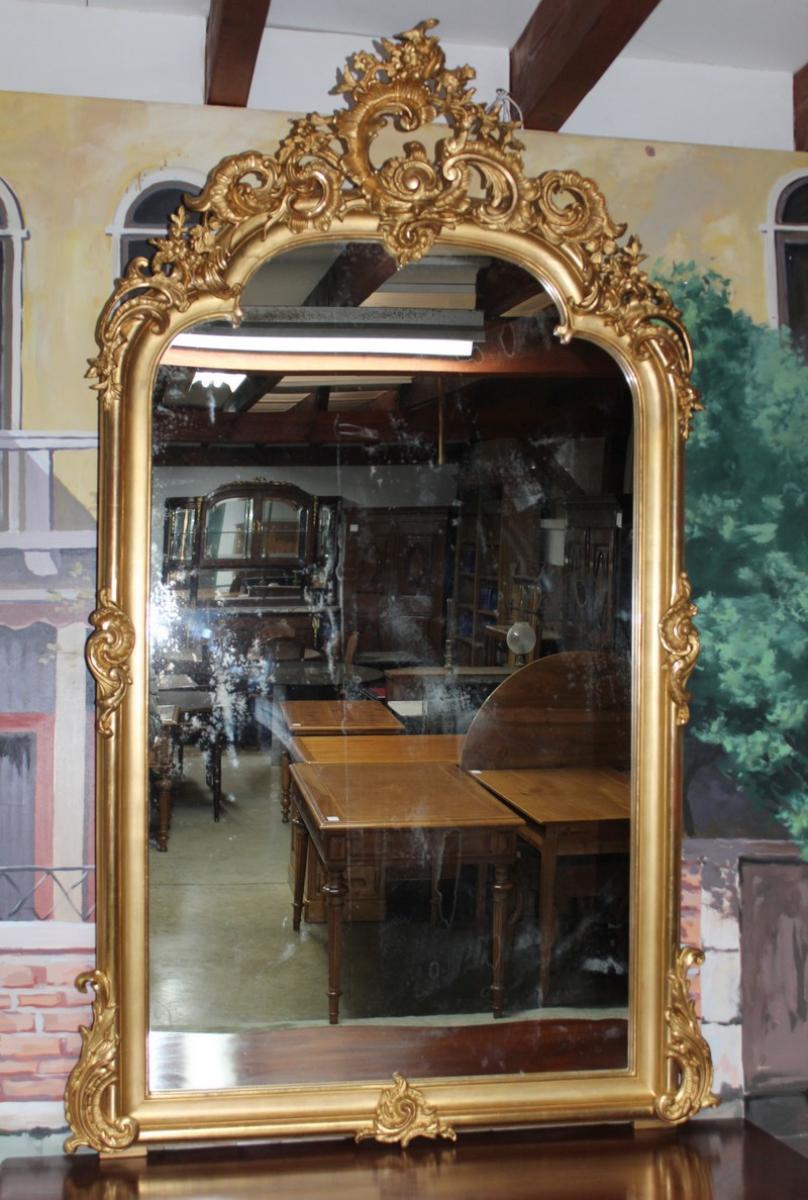 miroir dor rocaille xixe antiquites lecomte. Black Bedroom Furniture Sets. Home Design Ideas