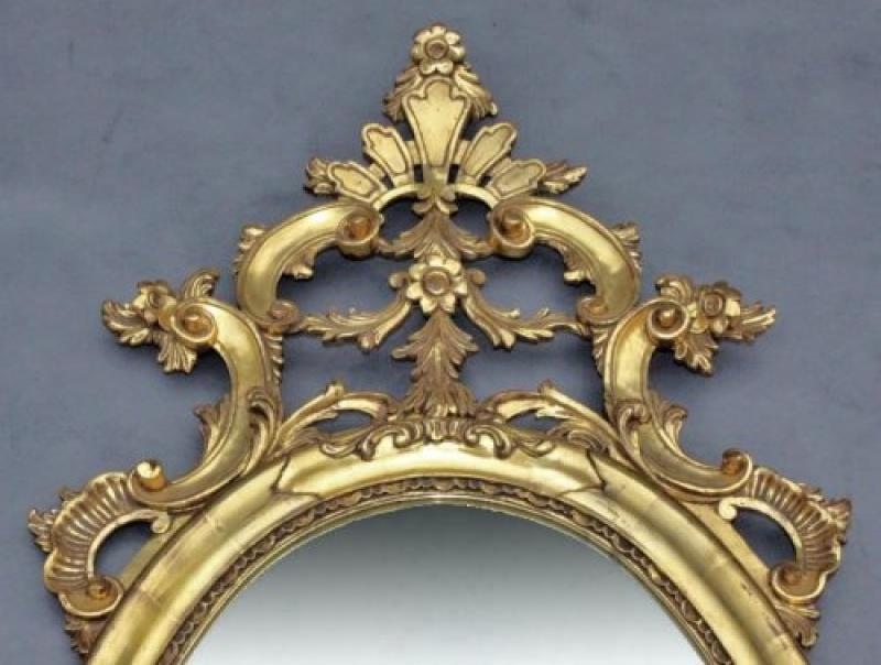 Grand miroir baroque en bois dor poque art d co vers for Grand miroir baroque