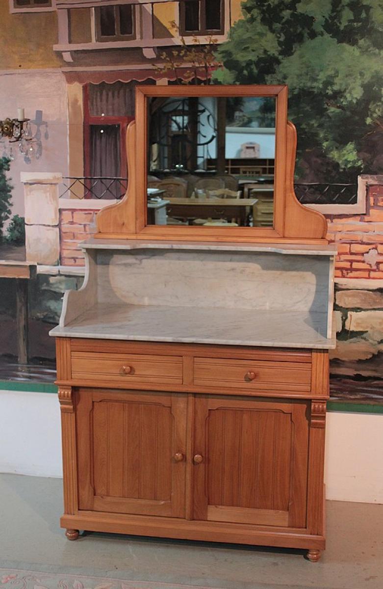 Meuble de toilette en h tre avec miroir xxeme antiquites for Meubles en miroir