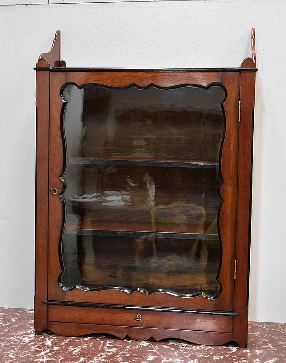 vitrine murale en verre laiton xxe antiquites lecomte. Black Bedroom Furniture Sets. Home Design Ideas