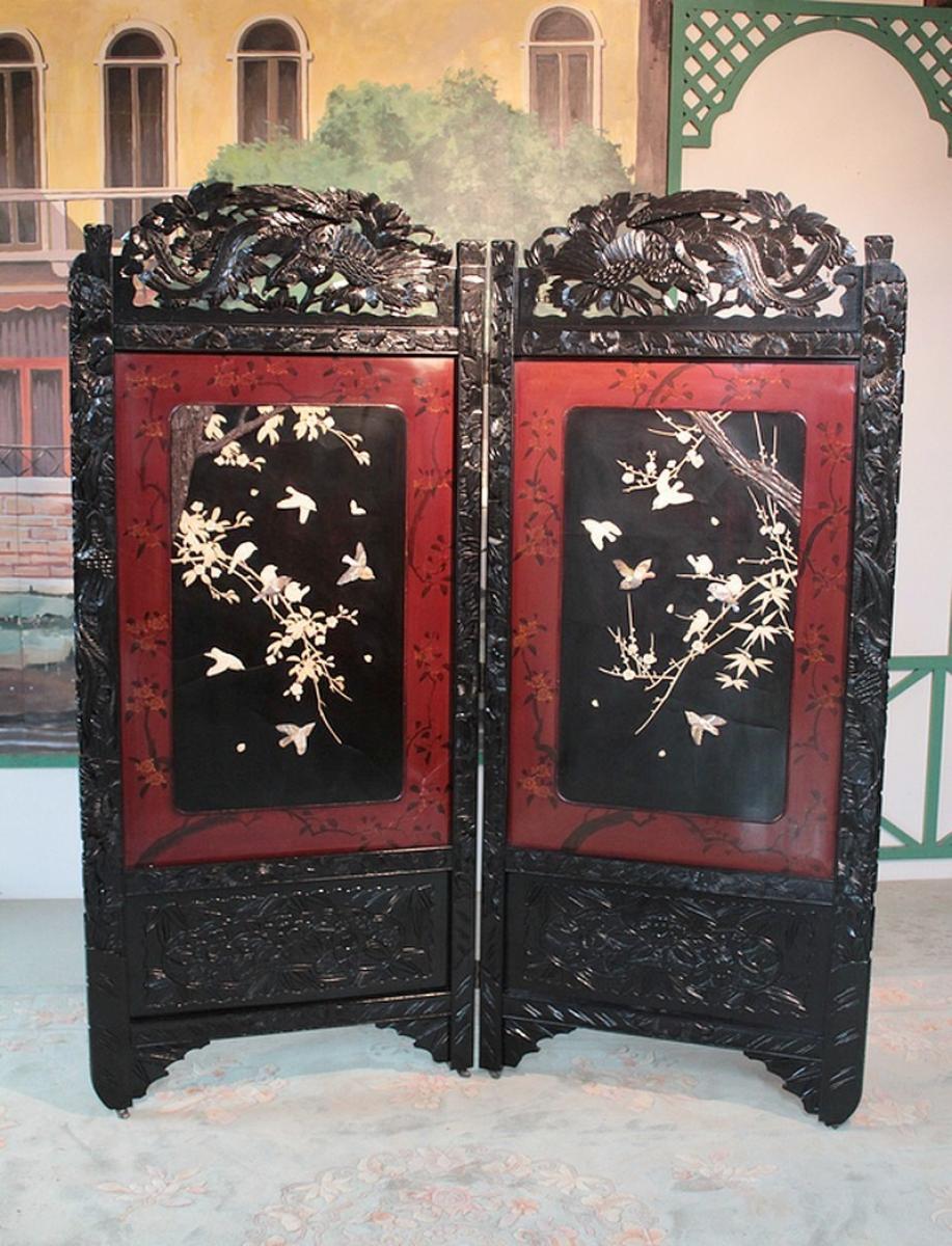 paravent chinois xxeme antiquites lecomte. Black Bedroom Furniture Sets. Home Design Ideas