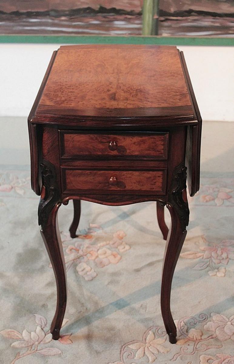 Table de chambre volets en palissandre xixeme - Table en palissandre massif ...