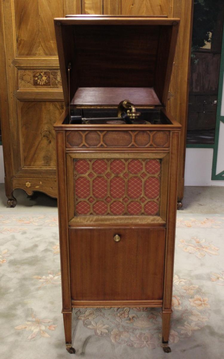 Meuble phonographe en acajou XXe  Antiquites Lecomte -> Meuble Acajou