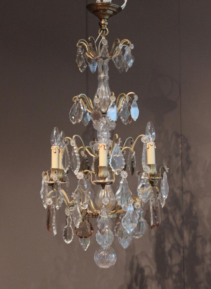 Lustre en cristal et bronze antiquit s christophe rochet for Lustre en cristal