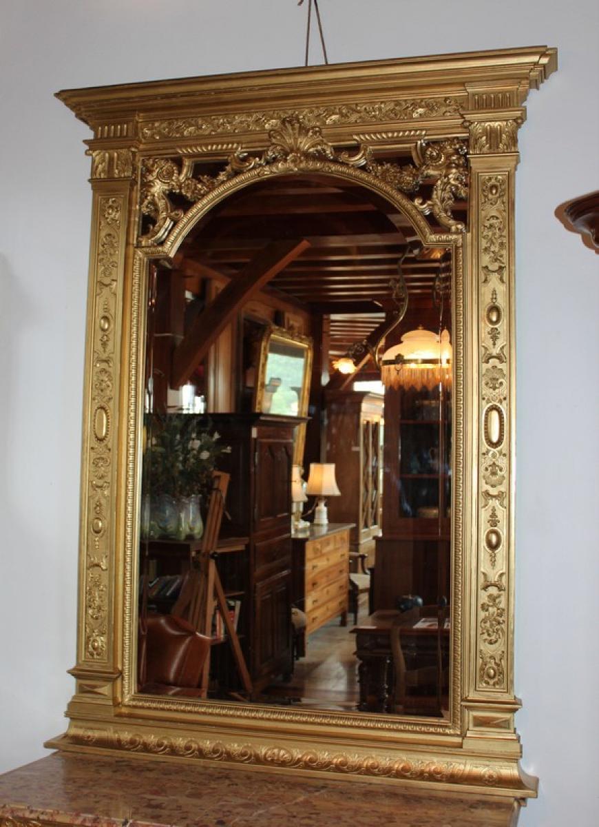 Miroir louis xiv en bois dor xixe antiquites lecomte for Miroir louis xiv