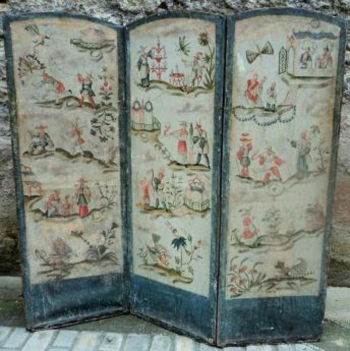Paravent aux d cors de chinoiseries et floraux epoque for Decoration 19eme siecle