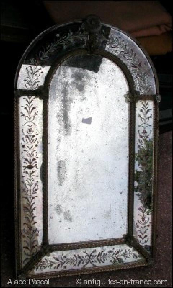 Miroir venitien a decors de fleurs emaill es a abc pascal for Miroir venitien