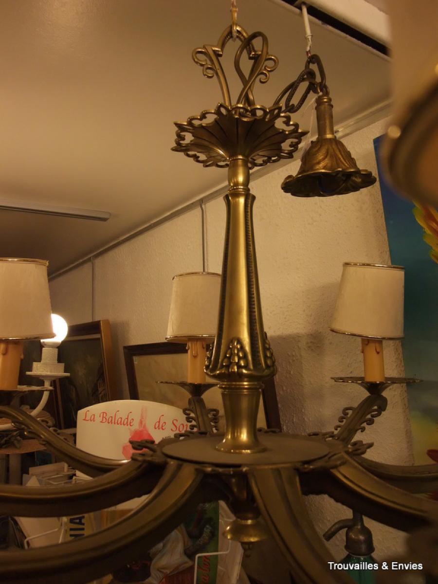 lustre en bronze 8 lampes ann es 50 trouvailles envies sarl. Black Bedroom Furniture Sets. Home Design Ideas