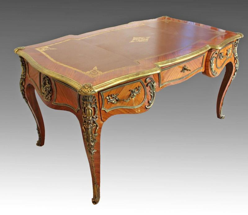 bureau plat xixe style louis xvi en marqueterie galerie tramway. Black Bedroom Furniture Sets. Home Design Ideas