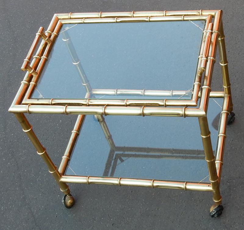 1950 70 39 bar roulant style bambou en laiton a abc pascal. Black Bedroom Furniture Sets. Home Design Ideas