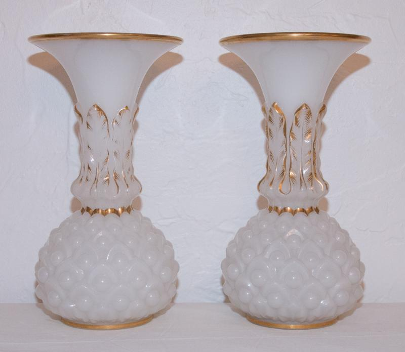 Paire vases en opaline baccarat circa 1850 galerie lauretta for Vasi baccarat