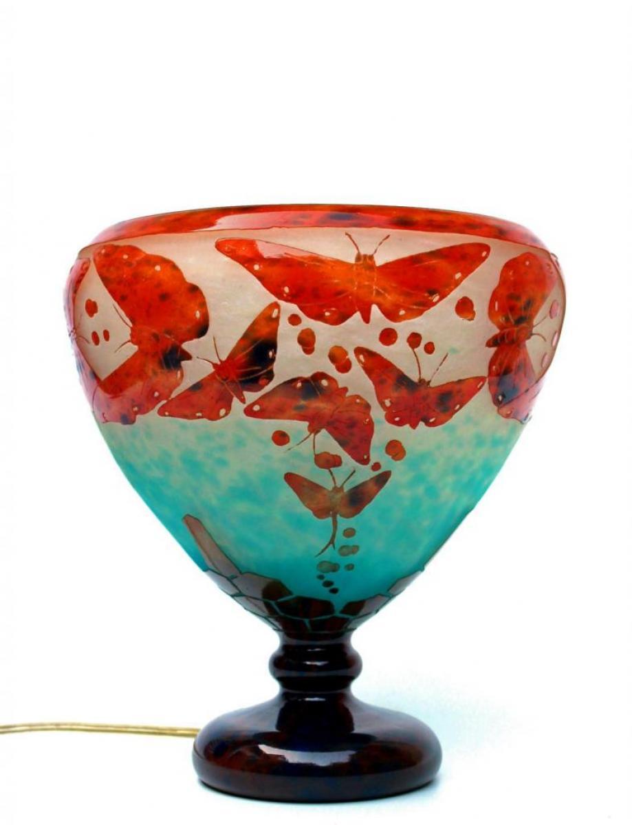 ch schneider le verre fran ais vase lampe papillons art d co. Black Bedroom Furniture Sets. Home Design Ideas