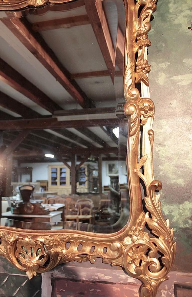 miroir en bois dor rocaille xixeme antiquites lecomte. Black Bedroom Furniture Sets. Home Design Ideas