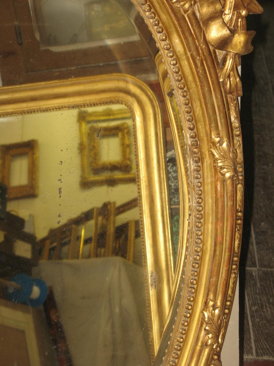 Miroir ovale poque 19 me en bois dor sarl cave for Miroir 19eme siecle