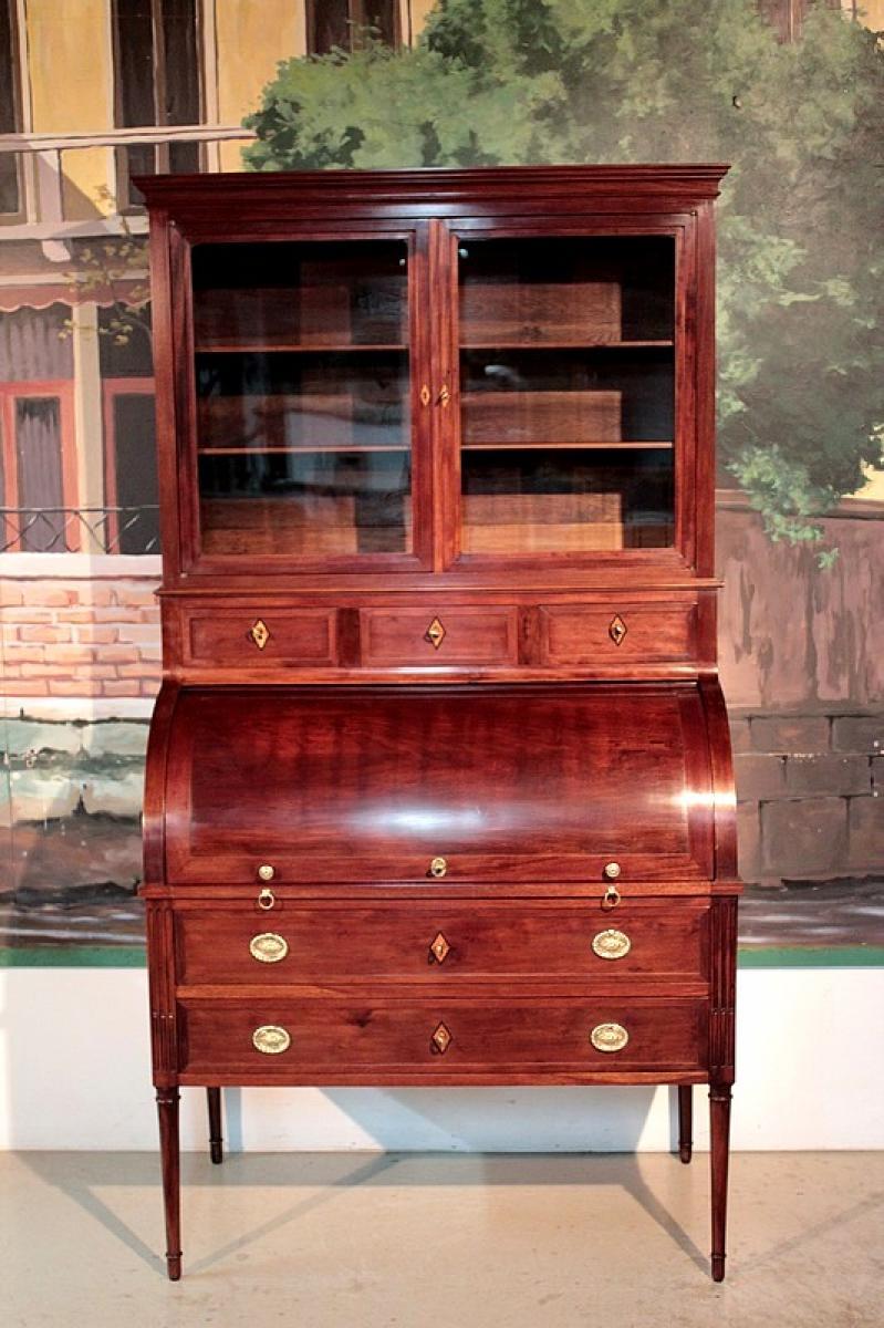 bureau cylindre louis xvi en acajou de cuba xviiie antiquites. Black Bedroom Furniture Sets. Home Design Ideas