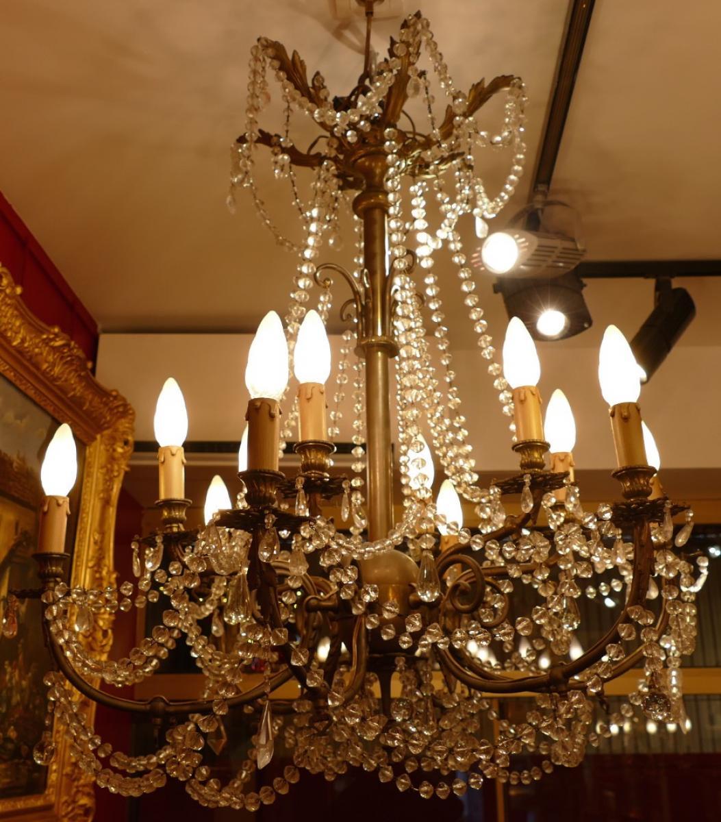lustre ancien xix me siecle en bronze aux entrees de gaz monte a. Black Bedroom Furniture Sets. Home Design Ideas