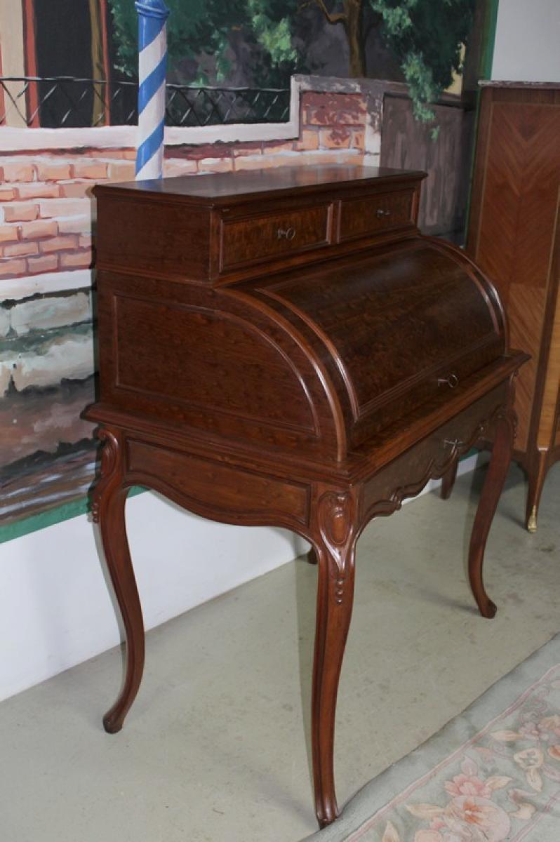 bureau cylindre napoleon iii en acajou antiquites lecomte. Black Bedroom Furniture Sets. Home Design Ideas
