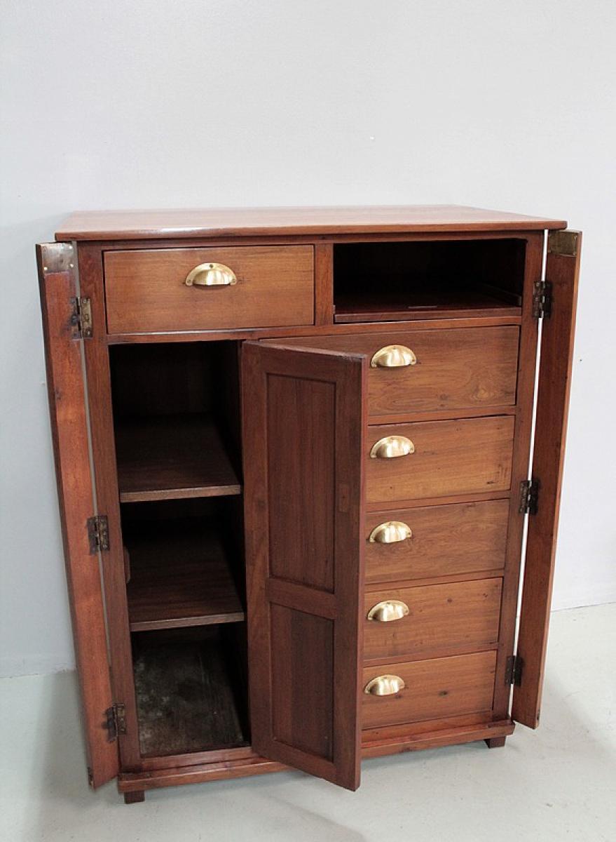 meuble de commerce en teck inde xxe antiquites lecomte. Black Bedroom Furniture Sets. Home Design Ideas