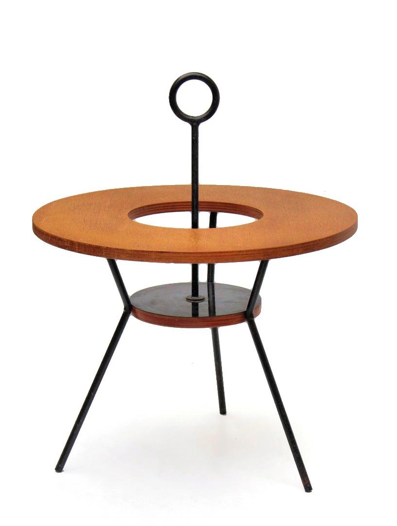 Art Deco 1920 Table Sellette En Fer Forge A Dessus Marbre