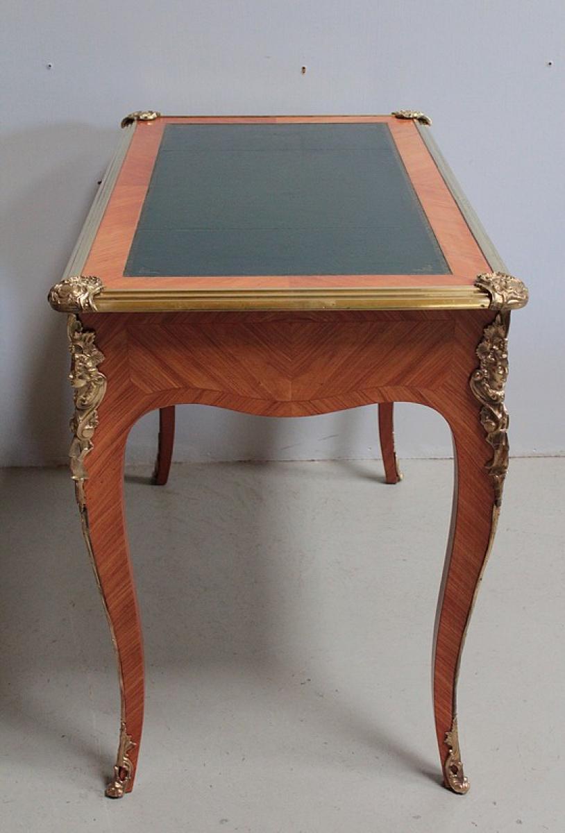bureau de style louis xv en bois de rose xxe antiquites lecomte. Black Bedroom Furniture Sets. Home Design Ideas