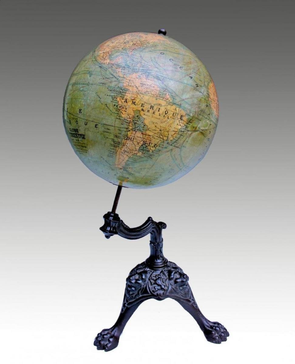 Globe terrestre xixe j forest paris pi tement tripode - Globe terrestre en carton ...
